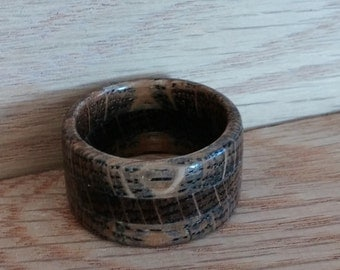 Oxidized White Oak Band Ring