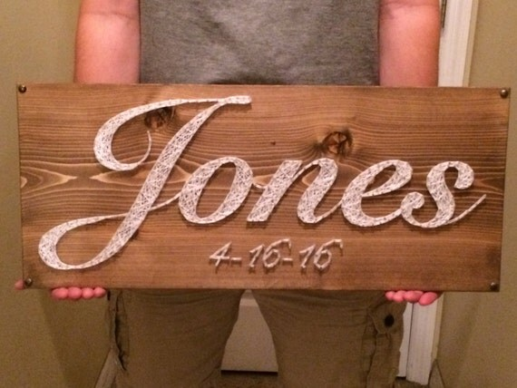 Wedding Gift String Art : CUSTOM Family Name/Date String Art Sign, Anniversary/Wedding Gift ...
