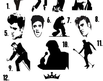 Elvis Vinyl decals (1 sticker only) READ item details to order and scroll through pictures.