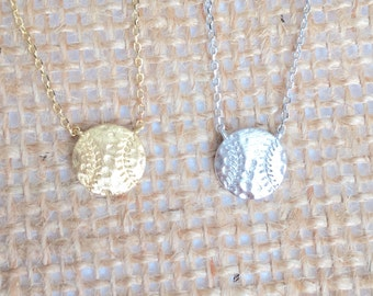 Baseball Necklace small, gold or silver, short dainty delicate baseball necklace