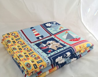 Baby Blanket - Baby Comforter - Baby Quilts - Toddler Blanket - Toddler Comforter - Toddler Quilts - Light House Sailor Friends *R8*