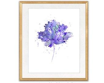 Purple Flower Watercolor Print Flower Art Print, Purple Watercolor Painting Print, Flower Illustration, Wall Decor - 42