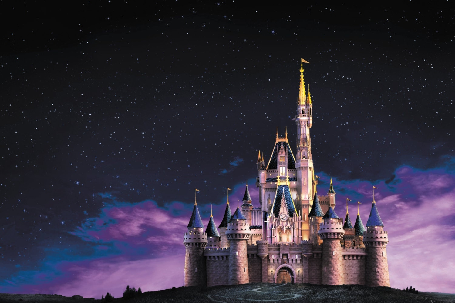 Disney castle at night wall mural for Castle mural wallpaper
