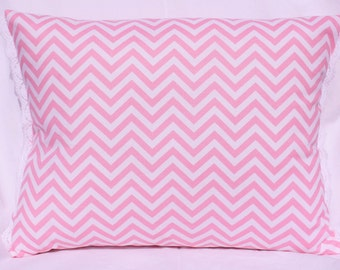 Chevron Throw Pillow - Pink Grey bedroom accent pillow