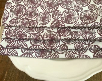 Large Cloth Dinner Napkins, Abstract Wheels, Mauve-Brown on Ivory. Earthly Modern 100% Cotton Print.  Summer Set of 4.
