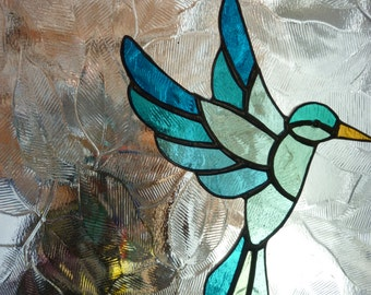 Stained glass blue bird suncatcher (B)