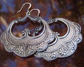 Silver Gypsy Earrings, Big Dangle Earrings, Boho Earrings, D594