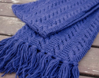 Handknitted Scarf, Winter Accessories, Handknit Dark Blue Acrylic scarf, Extra long Scarf, Handmade dark Blue Scarf
