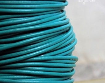 Leather Cord, Turquoise, Wrap Bracelet, Leather Bracelet, 2mm leather cord