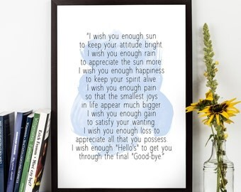 I wish you enough sun ... Quote, Alternative Watercolor Poster, Wall art, Motivational quote, Inspirational quote, Watercolor art.