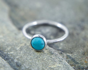 Turquoise silver ring, blue stacking ring Dainty thin band ring with natural gemstone - available with many stones