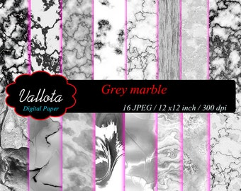 White & Gray Marble. Digital paper. Instant Download.
