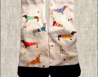 Custom Ladies Dachshund Socks, Ladies Doxie Socks, Custom Socks, Imprinted Ladies Socks,