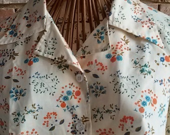 Vintage 70's / blouse with flowers Pop / size 40
