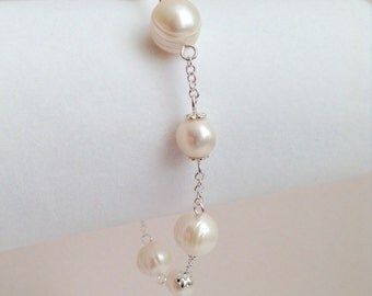 SOLD ~ OMG Gorgeous Creamy Freshwater Pearl Stirling Silver Bracelet - Order your own one of a kind design!