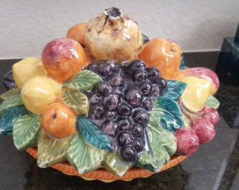 Vintage Italian covered dish // hand painted pottery // midcentury decor // hand painted ceramic // fruit // fall harvest