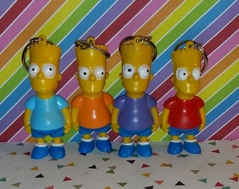 Vintage lot of 4 1990s The Simpsons Key Bart Keychains