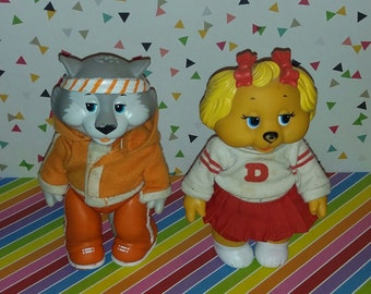 Vintage lot of 2 1984 Tomy Get Along Gang Figures (Dotty Dog and Zipper Cat)