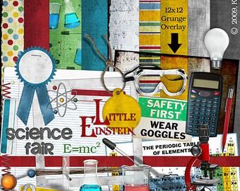 Science Fair Digital Scrapbook Kit with beaker, periodic table, calculator, pencil, microscope, goggles, eyedropper, ribbon. digital clipart