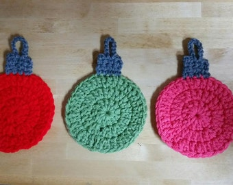 Hand Crocheted Christmas Ornament Coasters