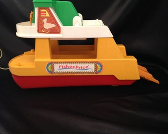 Vintage Fisher Price Little People Ferry Boat With RAMP/Fisher Price/Fisher Price Boat/Fisher Price Boat with Ramp