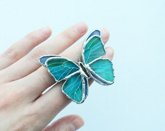 Turquoise Butterfly brooch, Tiffany technique jewelry, Green Butterfly Gift For Her, Stained Glass jewelry, Green Pin