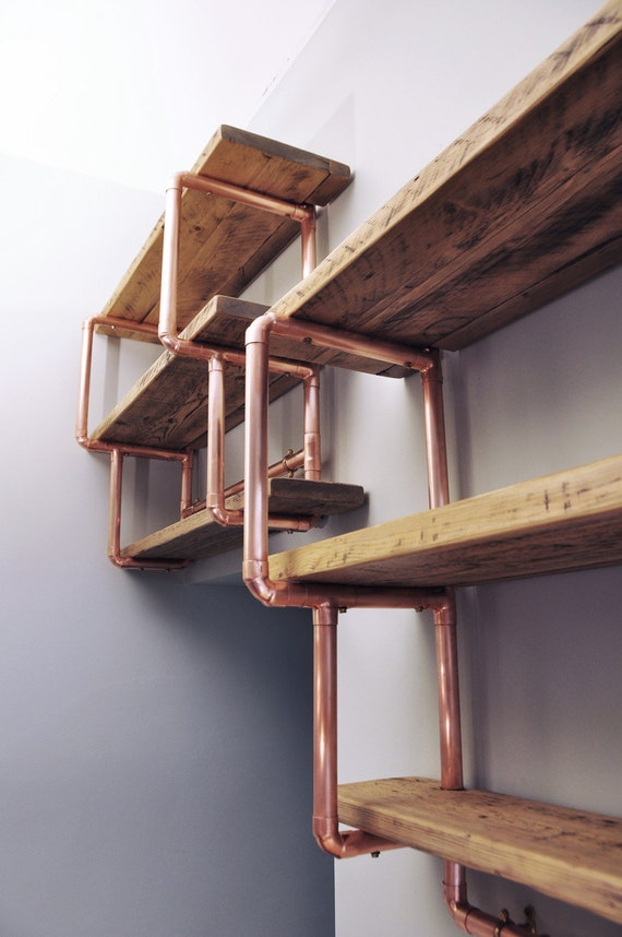 medium 3 shelf stepped design 28mm copper pipe and reclaimed. Black Bedroom Furniture Sets. Home Design Ideas