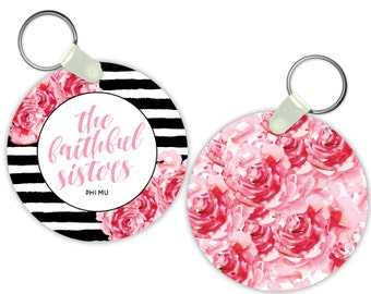Phi Mu Floral Motto Sorority Gift Sorority Keychain