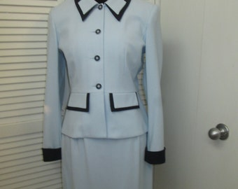 Vintage Nichol Taylor robin egg blue dark navy trim suit Love the 1940 vibe to this made in USA garment  Jacket could be worn so many ways