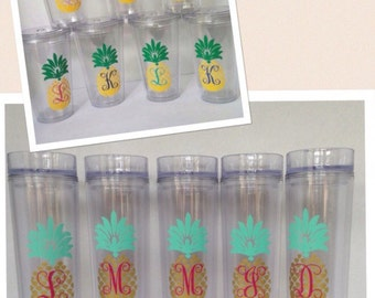 Pineapple Monogram Tumbler, Pineapple Tumbler With Monogram,Monogrammed Pineapple Vinyl Tumbler,Southern Preppy Tumbler,Summer Tumbler,Beach
