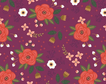 ON SALE!! Enchanted Floral Fabric - Plum - sold by the 1/2 yard