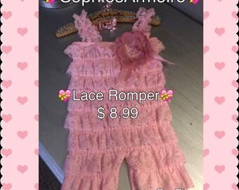 Lace Romper*Pink Lace Romper*Baby Lace Romper*Infants Romper*