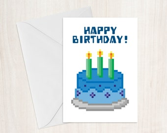 Gamer Cake Birthday Card, Pixel Cake, Gaming Card, Birthday Card, Gamer Card, Pixel Heart, Greeting Card, Geeky, Nerd Birthday Card, Retro