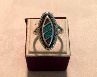 Turquoise and Coral Inlay Silver Ring