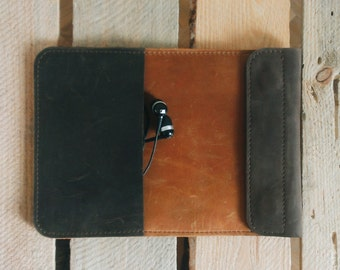 Handmade iPad mini LEATHER SLEEVE in brown-orange colors / ipad mini leather CASE in vintyge style