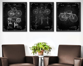 Bicycle Print - Set of 3 - Bicycle Decor - Cycling Art Patent Print - Gifts for Cyclist - Patent Wall Art Poster Sports Decor 1408