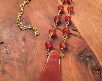 Carnelian Semi Precious Stone pendant necklace