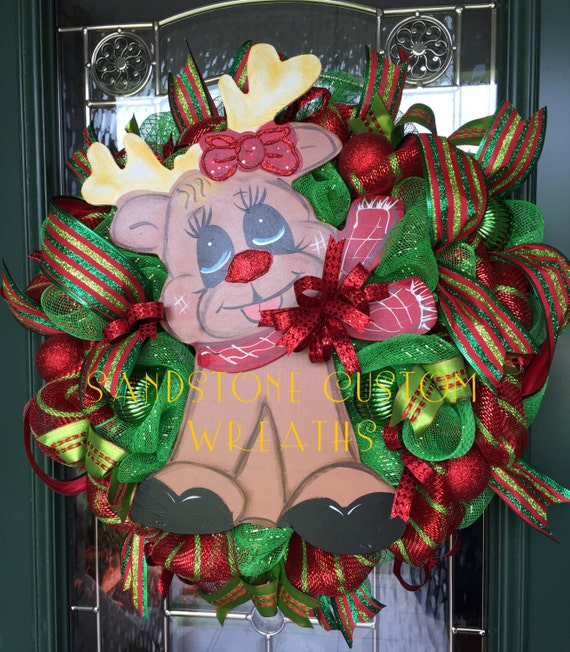 Colorful Deco Mesh Reindeer Wreath