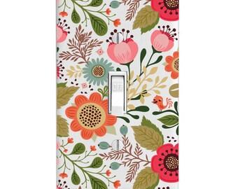 Light Switch Cover -Flower Floral Cutout Printed-Home Decor-Wall Decor-Bathroom Decor-Bedroom Decor-Kitchen Decor-Lighting-Housewarming Gift