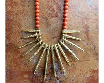 Orange Beaded Necklace/Oxidized Gold Filigree Spike Necklace/Bib Necklace/Statement Necklace - Handmade Jewelry - FL 13