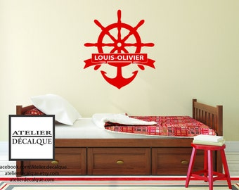 Wall decal no. S-020 - Rudder anchor boat with your child's name Free shipping to Canada.