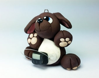 Polymer Clay T1D (Diabetes Mellitus) Puppy with Insulin Pump Collectable Figurine-Type 1 Juvenile Diabetes- Ornament/Keychain-Brown/Blue