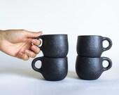 BLACK SMALL CUP 8 oz, ceramic, pottery, handmade, rustic, coffee, tea, hot, cocoa, chocolate, milk, water, chai, espresso