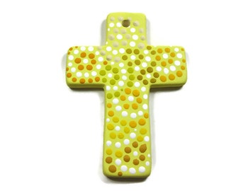 Ceramic Cross Ornament Ready to be Personalized