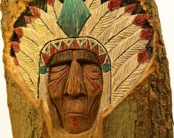 Native American Wood Spirit - Chief Wood Carving - Hand Carved - Headdress Carving - Native Wood Spirit - Fantasy - Folk Art - Americana
