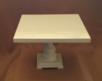 WOOD CAKE STAND White Square 7 1/2 Inches Tall 14 Inches Wide White  All Colors All Sizes