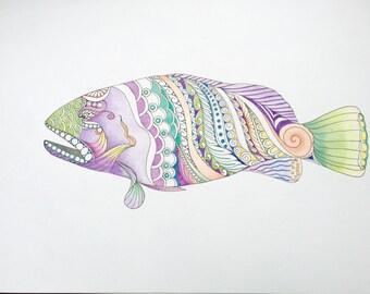 Zentangle grouper,grouper art,fish art,zentangle fish,zentangle art,colored zentangle,wall art,wall decor,