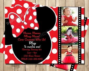 Minnie Mouse Filmstreifen Geburtstag Einladung   Rote Polka Dot Hollywood  Party   Mickey Maus Clubhouse