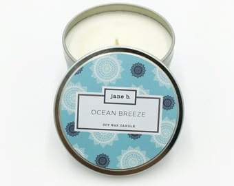 Ocean Breeze Scented Candle - 100% Soy, Paraffin Free, Lead Free Wick, In Decorated 8oz Aluminum Tin
