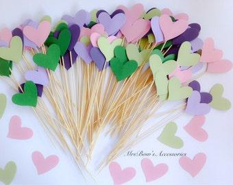 100 custom made hearts on a stick / Wedding aisle decoration/ Beach wedding /Garden wedding /Party decoration